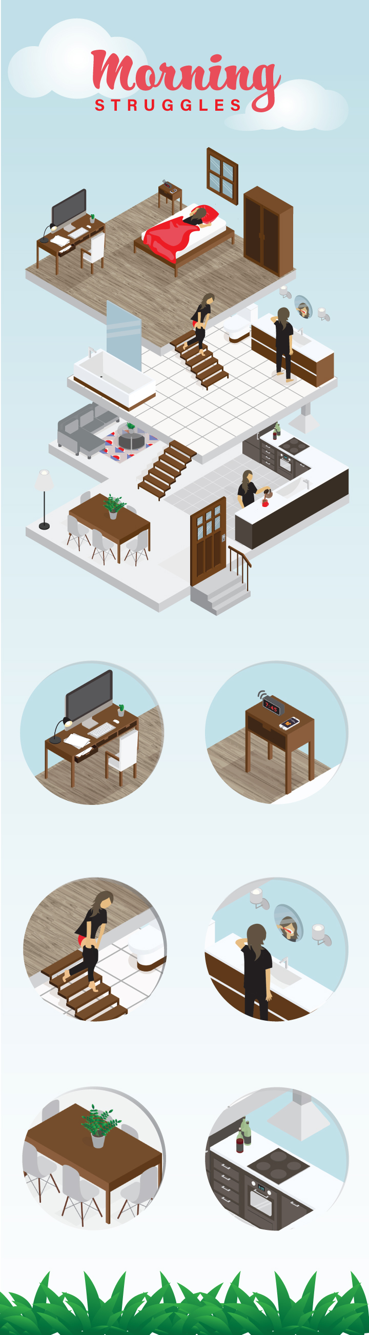isometric morning struggles illustration